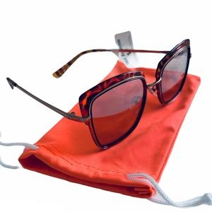 True Religion Square Oversized RoseGold Sunglasses